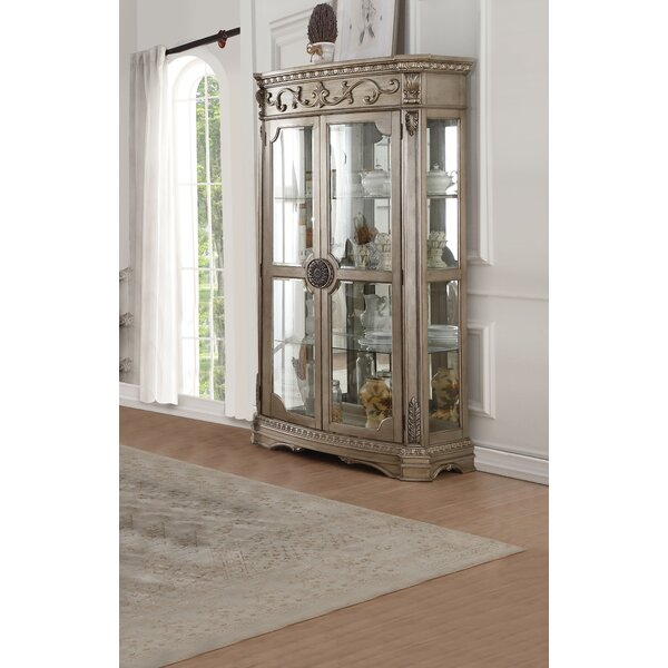 Leanos Lighted Curio Cabinet by Rosdorf Park