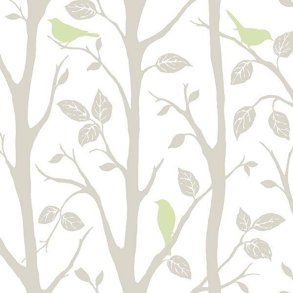 Grey and Green Sitting In A Tree Peel And Stick Wallpaper by WallPops!