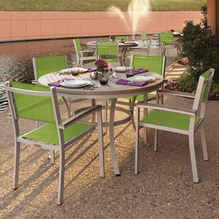 Farmington 5 Piece Dining Set with Green Sling Back chairs By Latitude Run