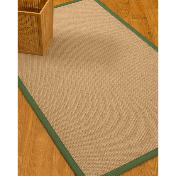 Chea Border Hand-Woven Wool Beige/Green Area Rug by Rosecliff Heights