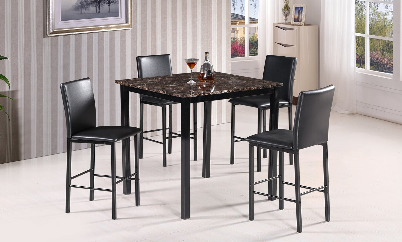 Best Quality Furniture 5 Piece Counter Height Dining Set & Reviews ...