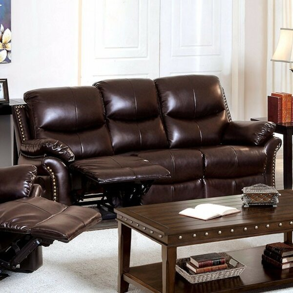 Burlington Bonded Leather Reclining Sofa by Canora Grey