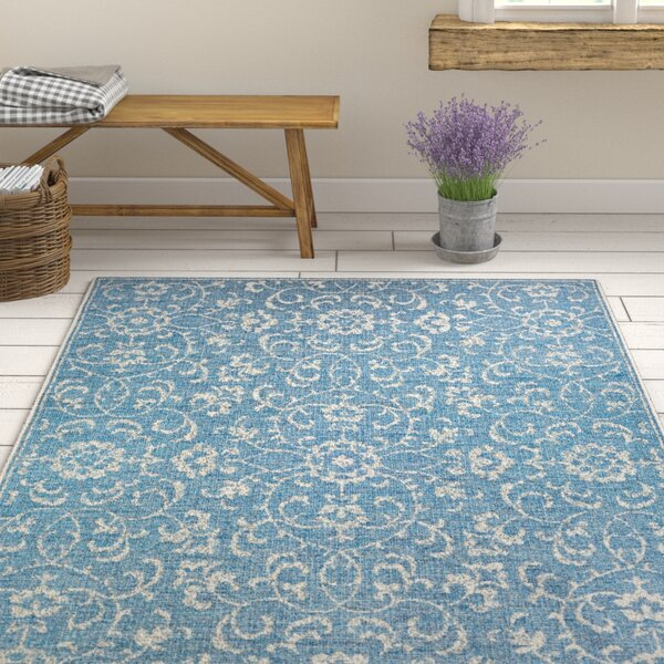 Kraatz Summer Vines Blue/Ivory Indoor/Outdoor Area Rug by Ophelia & Co.