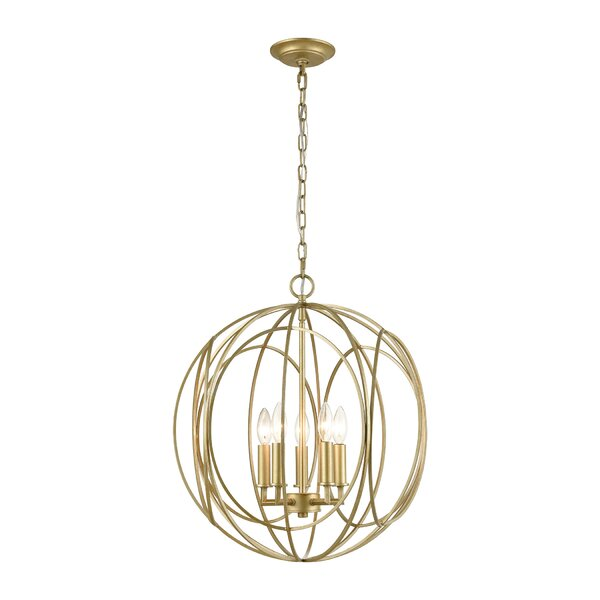 Neillsville 5 - Light Unique Globe Chandelier by Everly Quinn Everly Quinn