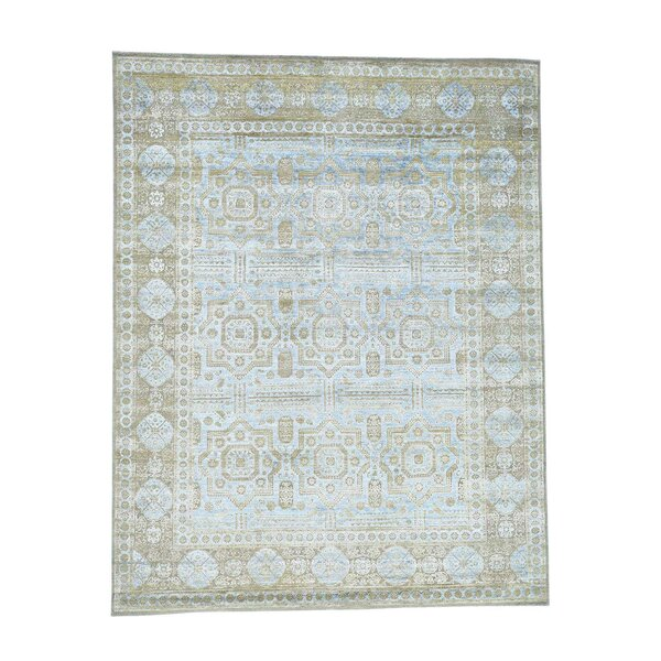 One-of-a-Kind Ensor Oxidized Hand-Knotted Silk Blue Area Rug by World Menagerie