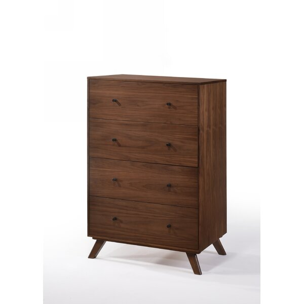 Rodney Mid-Century 4 Drawer Chest by Modern Rustic Interiors