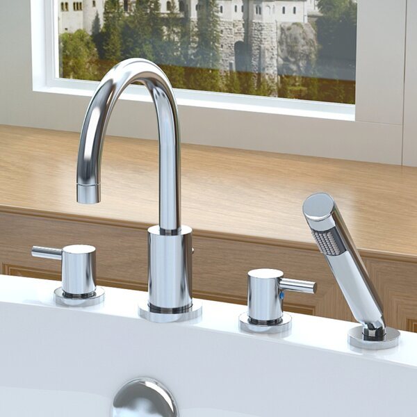 Double Handle Deck Mount Roman Bathtub Faucet with Shower Wand by ANZZI