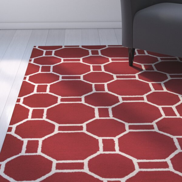 Evangeline Hand-Tufted Red Indoor/Outdoor Area Rug by Ebern Designs