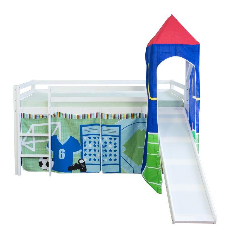 zoomie kids halbhochbett fu ball alonso mit rutsche vorhang und turm 90 x 200 cm. Black Bedroom Furniture Sets. Home Design Ideas
