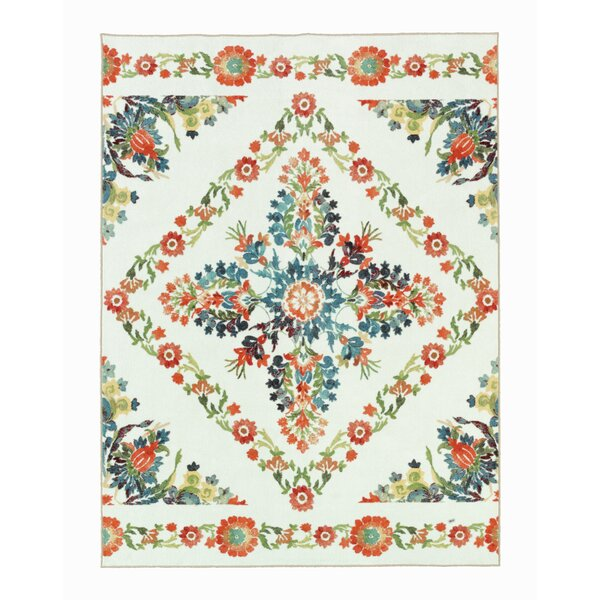 Tatyana Cream/Red Area Rug by Bungalow Rose