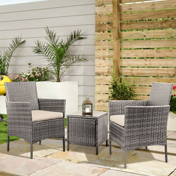 3 Piece Rattan Seating Group With Cushions By Latitude Run by Latitude Run Amazing