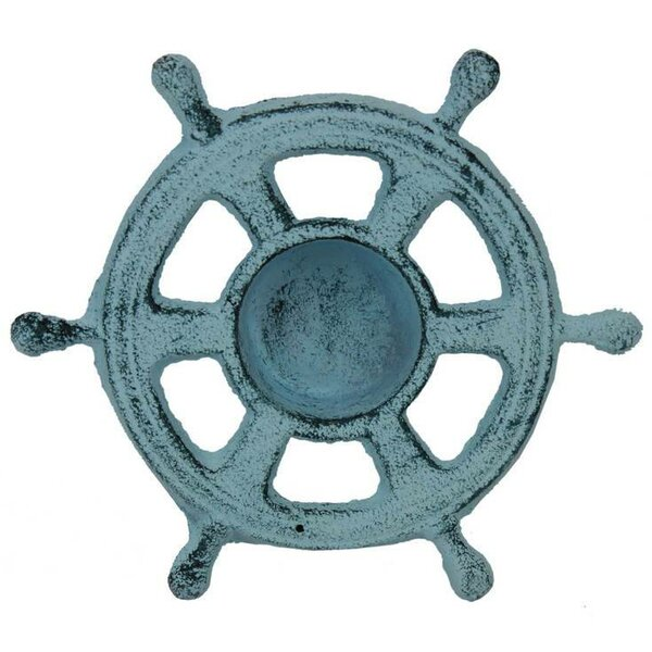 Ship Wheel Iron Votive by Handcrafted Nautical Decor