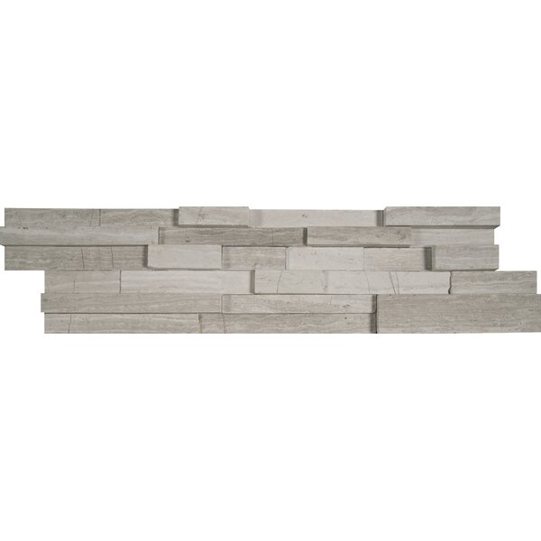 6 x 24 3D Honed Panel Random Sized Natural Stone Splitfaced Tile in White Oak by MSI