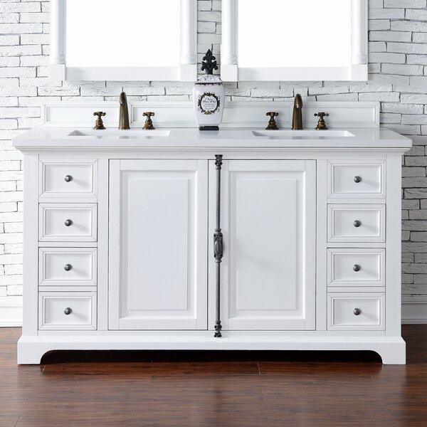 Ogallala 60 Double Undermount Sink Cottage White Bathroom Vanity Set by Greyleigh