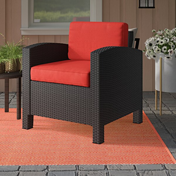 Katzer Wicker Resin Aluminum Contemporary Patio Chair with Cushion by Brayden Studio