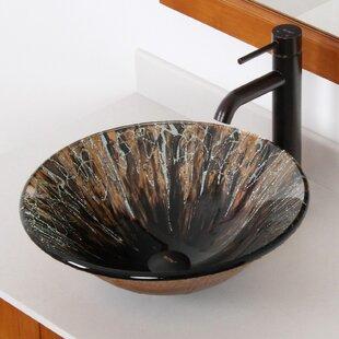 Great Price Handcrafted Glass Circular Vessel Bathroom Sink ByElite