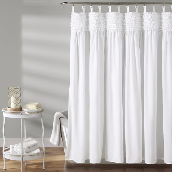 Aloysia Ruffle Single Shower Curtain by House of Hampton