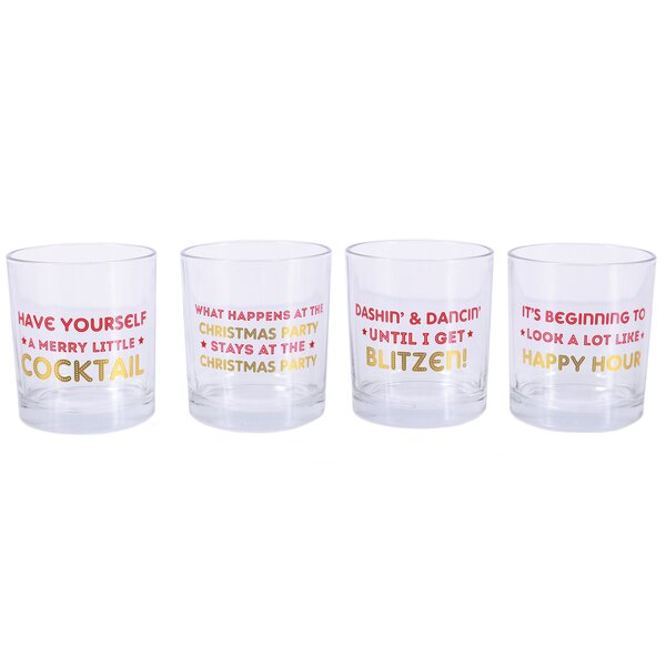Sparkle and Shine Christmas Cocktail Sayings DOF 10 Oz. Glass Set by DEI