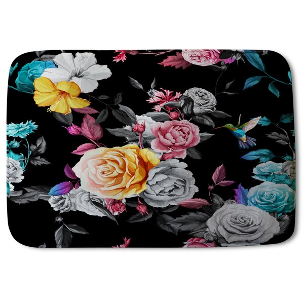 Mcgann Humming Bird, Roses, Peony with Leaves Designer Rectangle Non-Slip Floral Bath Rug