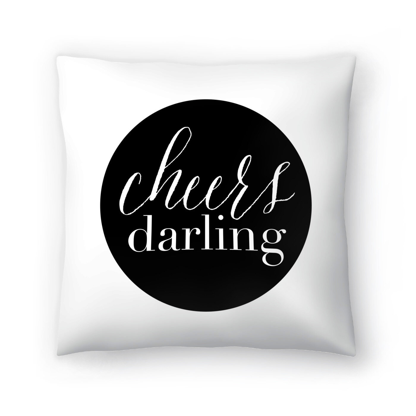Cheers Darling Black Throw Pillow