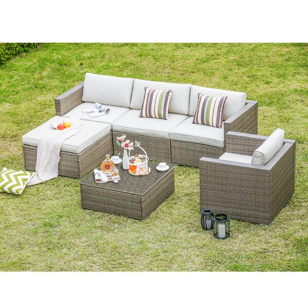 Leonora 6 Piece Rattan Sectional Set With Cushions By Bayou Breeze