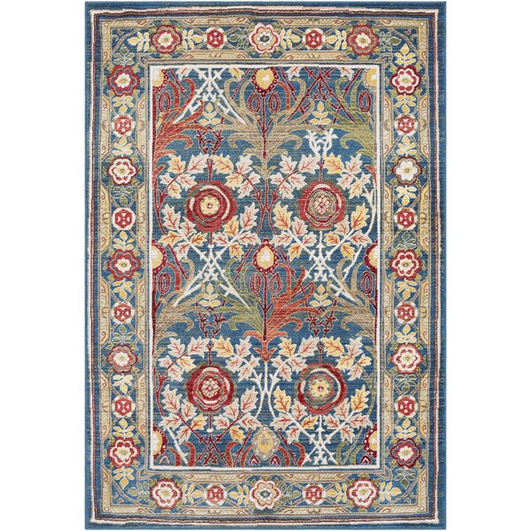 Arbouet Traditional Floral Rectangle Navy/Cream Area Rug by Charlton Home
