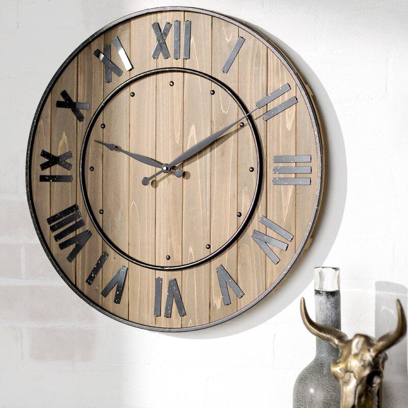 """Photo Wall Clock trent austin design northrop wine barrel 24"""" wall clock & reviews"""