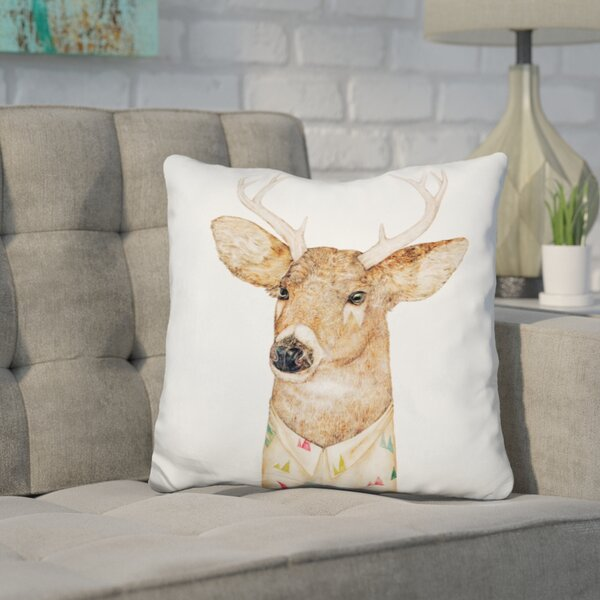 Jeffrey Tailed Deer Throw Pillow by Wrought Studio