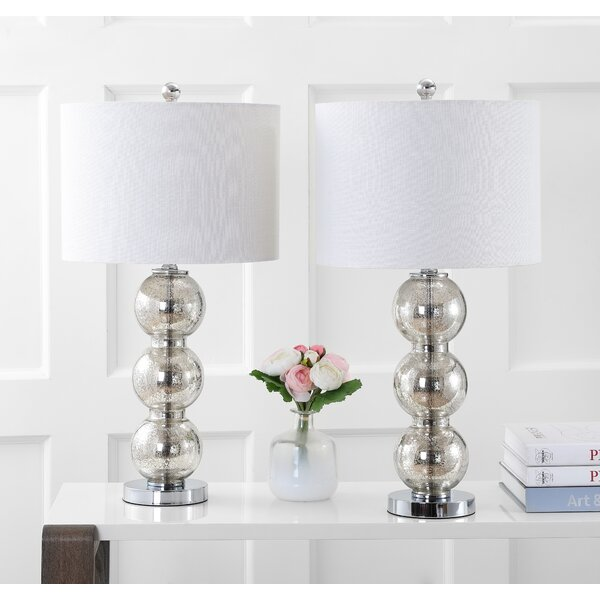 Figueroa Glass Triple-Sphere 27 Table Lamp (Set of 2) by Everly Quinn