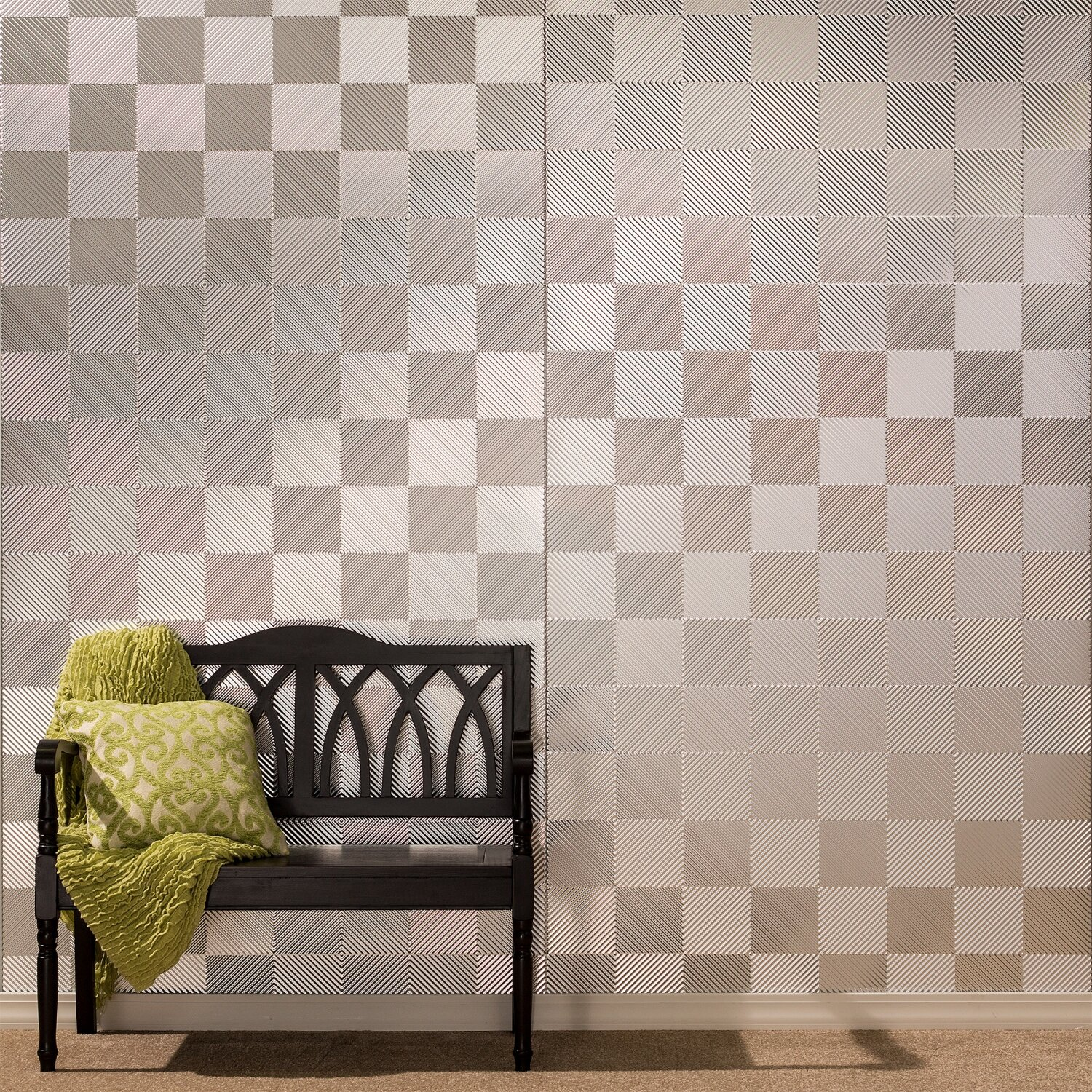 - Fasade Quattro 48'' X 96'' PVC Wall Paneling In Brushed Aluminum