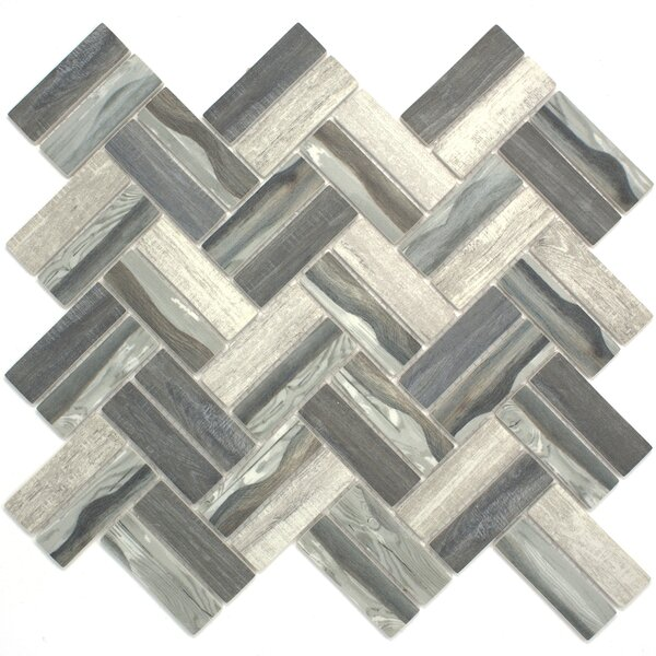Recycle Herringbone Wooden Look 1 x 3 Glass Mosaic Tile in Gray by Multile