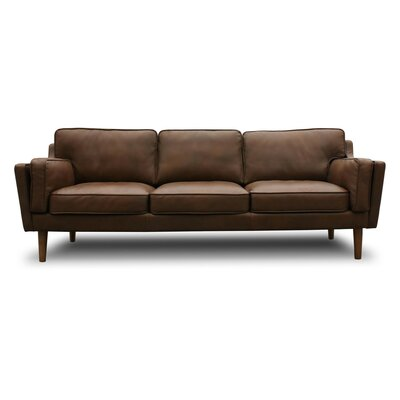 kaufman mid century modern leather sofa - Tan Leather Sofa