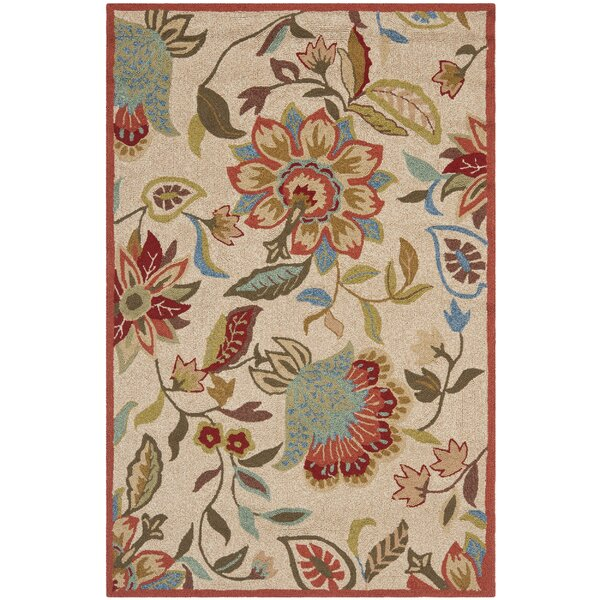 Carvalho Ivory/Rust Outdoor Area Rug by Charlton Home