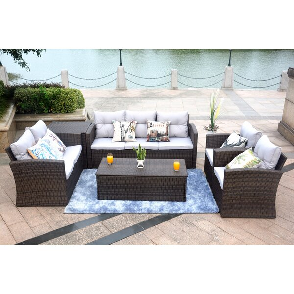 Vega 5 Piece Sectional Seating Group with Cushions by Rosecliff Heights