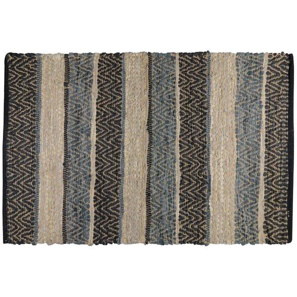 Rojas Stripe Hand-Woven Cotton Denim/Beige/Black Area Rug by Loon Peak