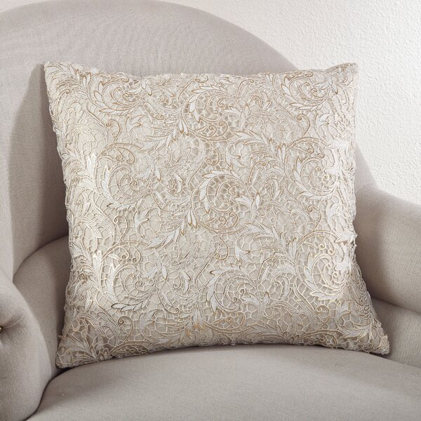Lace Design Cotton Throw Pillow by Saro