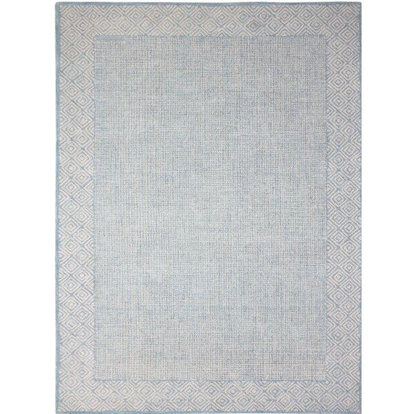 Melaney Neutral Hand-Tufted Blue Area Rug by Bungalow Rose