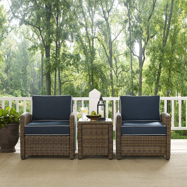 Lawson 3 Piece Rattan 2 Person Seating Group with Cushions by Birch Lane™ Heritage