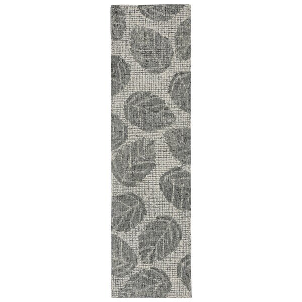 Claremont Leaf Hand-Tufted Wool Gray Area Rug by Bay Isle Home