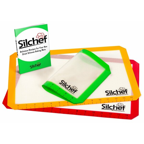 3 Piece Non-Stick Silicone Baking Mat Set by Silchef