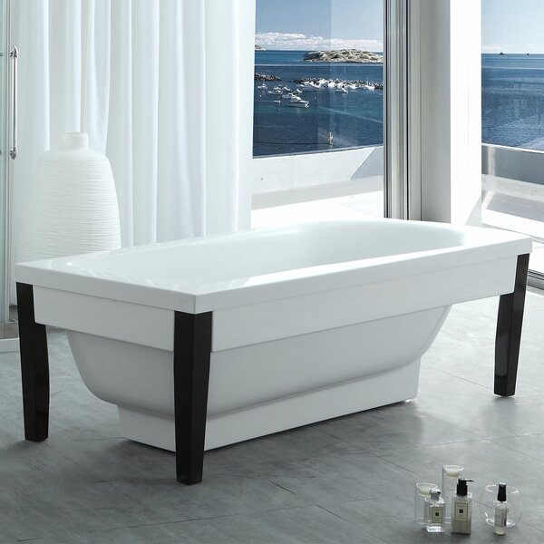 HelixBath Athenaeus Modern 71 x 31.5 Freestanding Soaking Bathtub by Kardiel