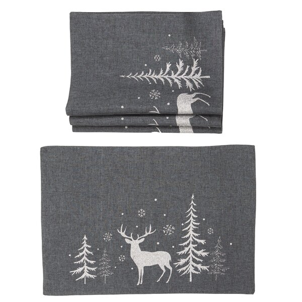 Castellanos Deer In Snowing Forest Christmas 20 Placemat (Set of 4) by The Holiday Aisle