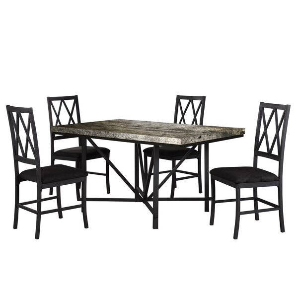 Cape Faux Concrete 5 Piece Dining Set by Fleur De Lis Living