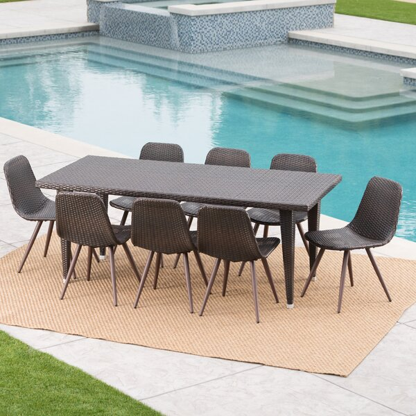 Gariepy Outdoor Wicker 9 Piece Dining Set by Ivy Bronx