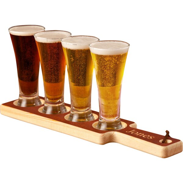 Personalized Gift 5 Piece Beer Flight Paddle and Glasses Set by JDS Personalized Gifts