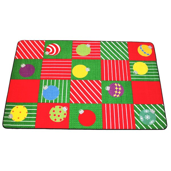 Christie Christmas Ornament Square Red/Green Area Rug by The Holiday Aisle