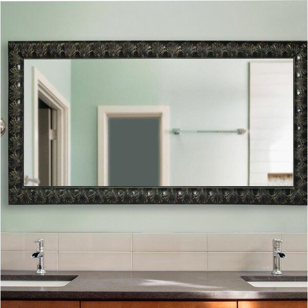 Derrek Feathered Accent Double Vanity Wall Mirror