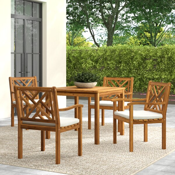 Chillicothe Bradbury 5 Piece Teak Dining Set with Cushions by Greyleigh