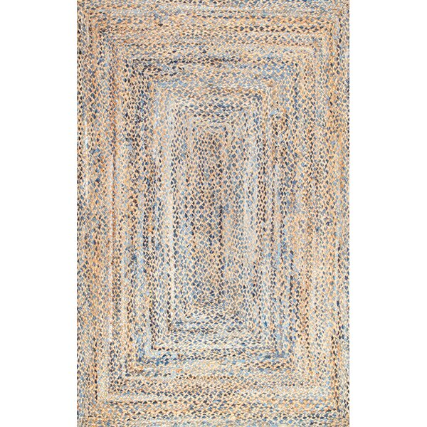Destrie Hand-Braided Denim Blue Area Rug by Mistan