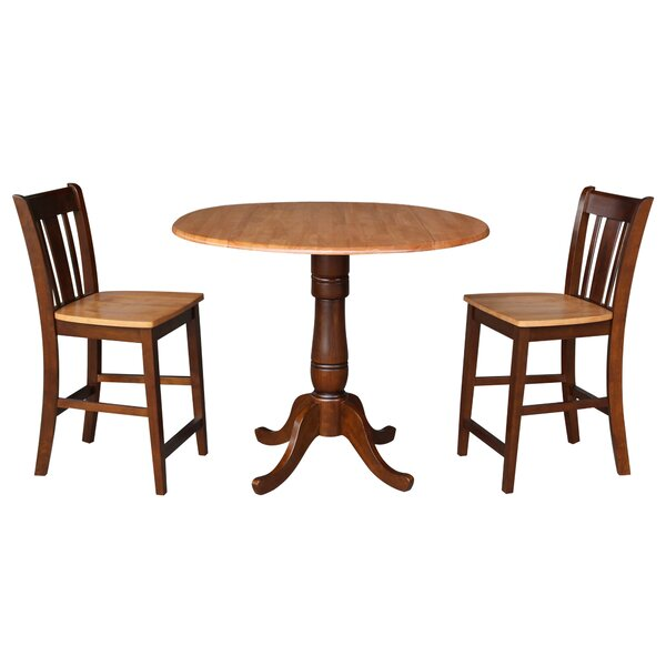 Sprayberry Round Top Pedestal Extending 3 Piece Pub Table Set by August Grove August Grove